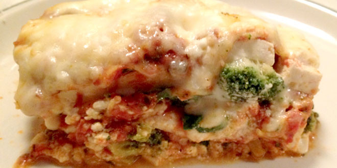 Low Carb Lasagna with Tofu, Spinach, and Broccoli