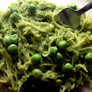 Green Pea Pesto and Spaghetti Squash