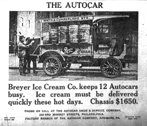 Breyer transported his delicious frozen treat on the very first ice cream truck - a wagon equipped with a dinner bell.