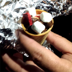 glamping smores in a cone