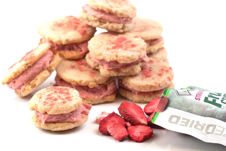Strawberry Melting Moments Cookies made with freeze dried strawberries