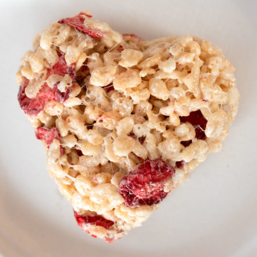 Strawberry Rice Crispy Treats Made With Freeze Dried Strawberries
