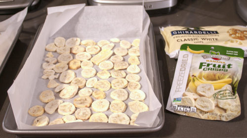 Freeze Dried Bananas Evenly Spaced On Baking Tray